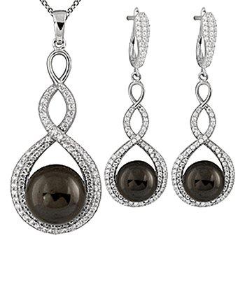 Black Shell Pearl Twist Pendant Necklace & Earrings