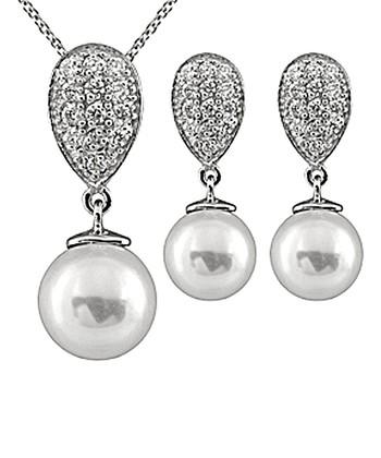 White Shell Pearl Teardrop Pendant Necklace & Earrings