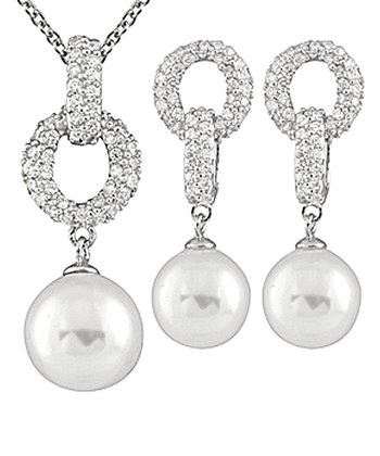 White Shell Pearl Circle Pendant Necklace & Earrings