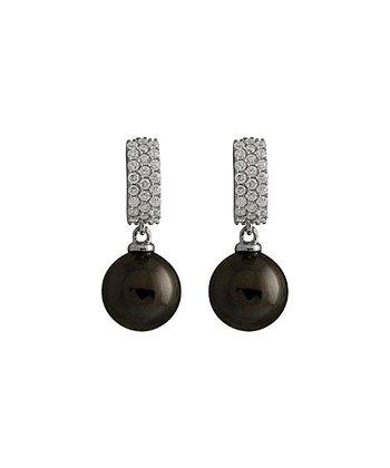 Black Shell Pearl Micropave Drop Earrings