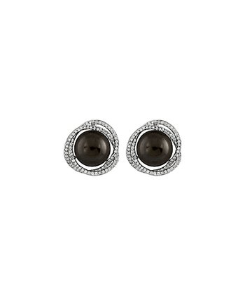 Black Swirl Stud Earrings