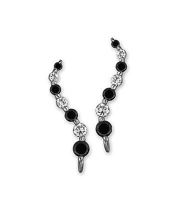 Cubic Zirconia & Silver Journey Ear Pin Earrings