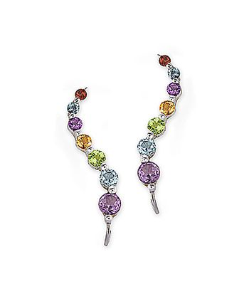 Gemstone & Silver Journey Ear Pin Earrings