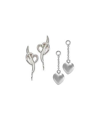 Silver Heart Ear Pin Earrings & Enhancers
