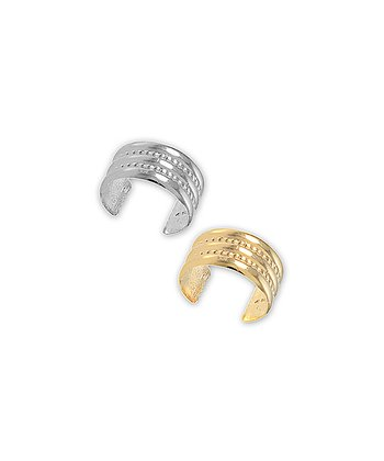 Silver & Gold Dual Beaded Center Ear Cuff Set