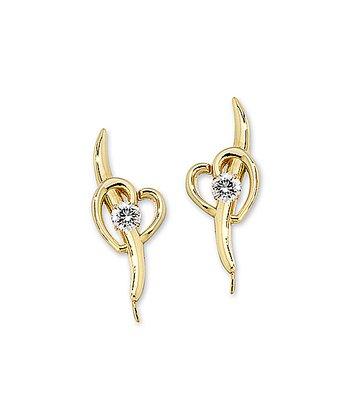Cubic Zirconia & Gold Shoot Thru the Heart Ear Pin Earrings