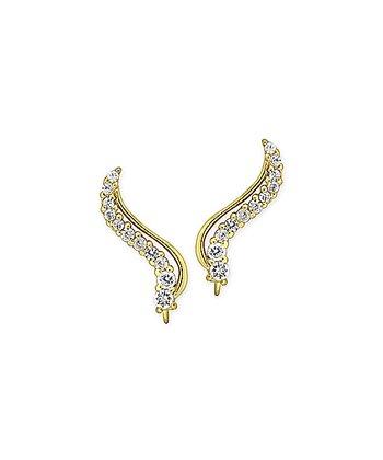 Cubic Zirconia & Gold Classic Curves Ear Pin Earrings