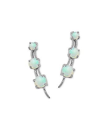Opal & Silver The Look of 3-in-1 Ear Pin Earrings