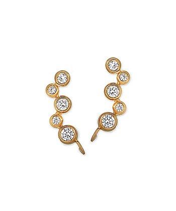 Cubic Zirconia & Gold Bubble Ear Pin Earrings