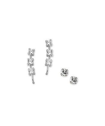 Cubic Zirconia & Silver Ear Pin Earrings & Stud Earrings
