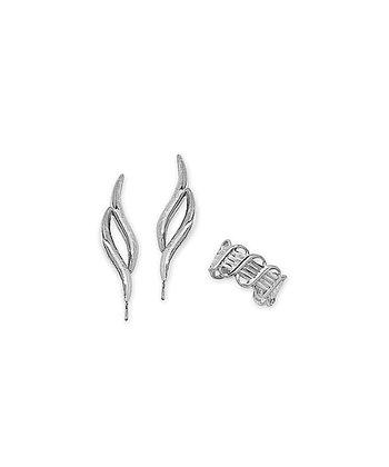 Silver Double Swirl Ear Pin Earrings & Huggie Earrings