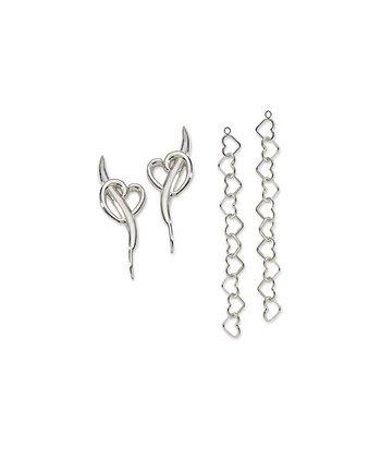 Silver Heart Ear Pin Earrings & Dangles