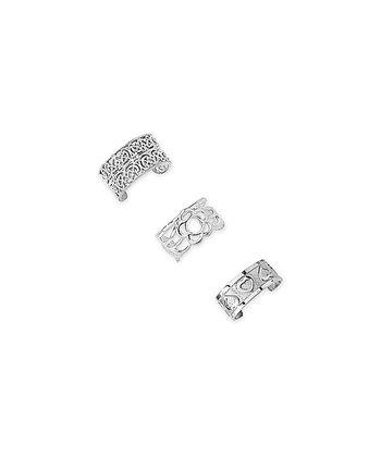 Silver Floral Heart Huggie Earrings Set