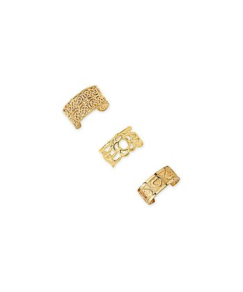Gold Floral Heart Huggie Earrings Set