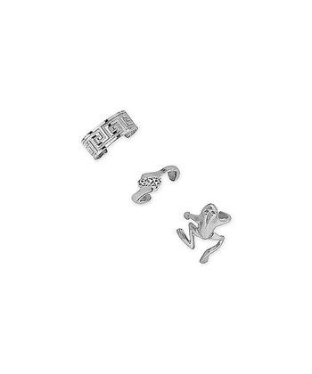 Silver Greek Key Frog Huggie Earrings Set