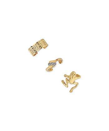 Gold Greek Key Frog Huggie Earrings Set