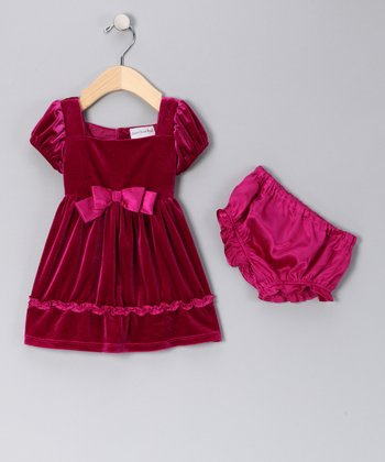 Pink Velvet Dress & Diaper Cover - Infant