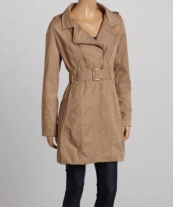 Camel Belted Twill Coat - Women
