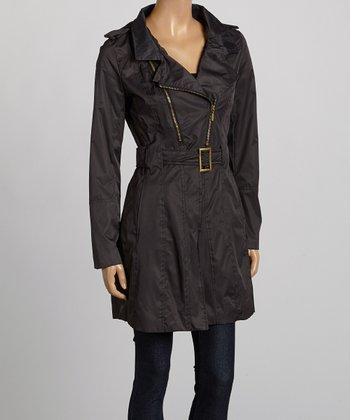 Black Belted Twill Coat - Women