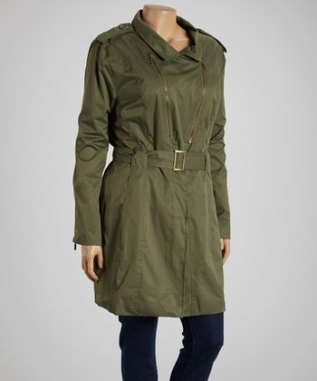 Olive Belted Twill Coat - Plus