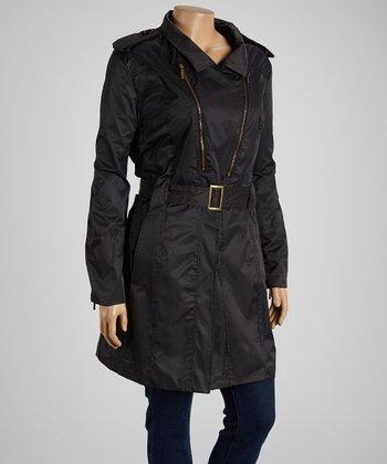 Black Belted Twill Coat - Plus