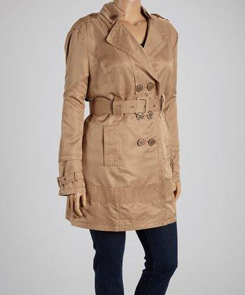 Camel Trench Coat - Plus
