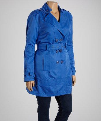 Dazzling Blue Trench Coat - Plus