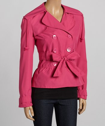 Fuchsia Double-Breasted Belted Jacket - Women