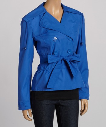 Dazzling Blue Double-Breasted Belted Jacket - Women