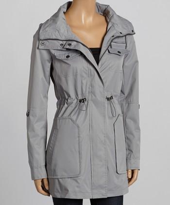 Gray Drawstring-Waist Twill Coat - Women