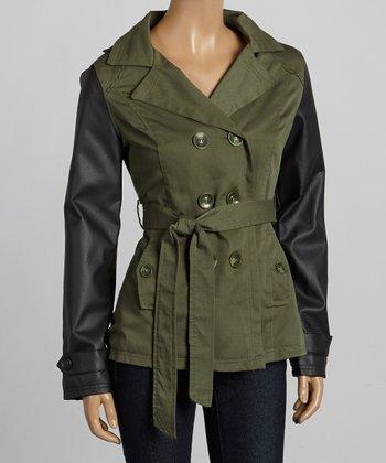 Olive & Black Short Twill Trench Coat - Women