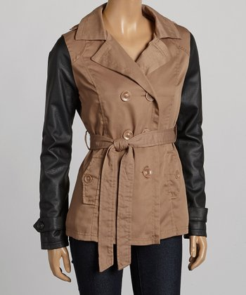 Camel & Black Short Twill Trench Coat - Women