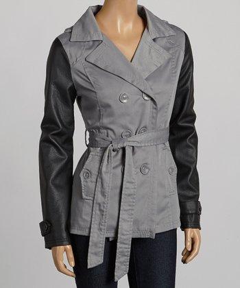 Gray & Black Short Twill Trench Coat - Women