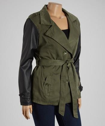 Olive & Black Short Twill Trench Coat - Plus