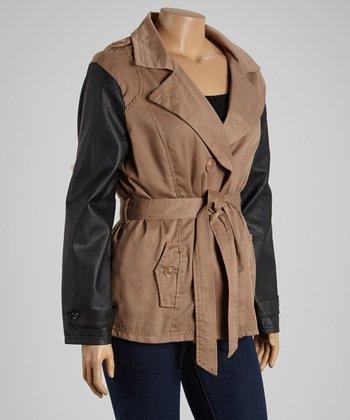 Camel & Black Short Twill Trench Coat - Plus