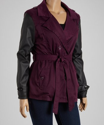Purple & Black Short Twill Trench Coat - Plus