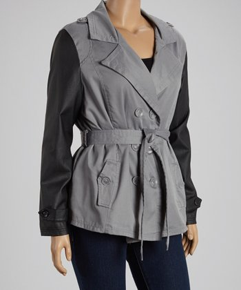Gray & Black Short Twill Trench Coat - Plus