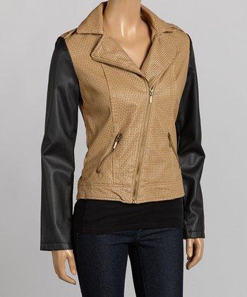 Camel & Black Asymmetrical-Zip Jacket- Women