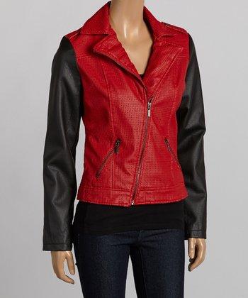 Red & Black Asymmetrical-Zip Jacket - Women