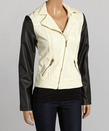Ivory & Black Asymmetrical-Zip Jacket - Women