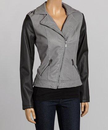 Gray & Black Asymmetrical-Zip Jacket - Women