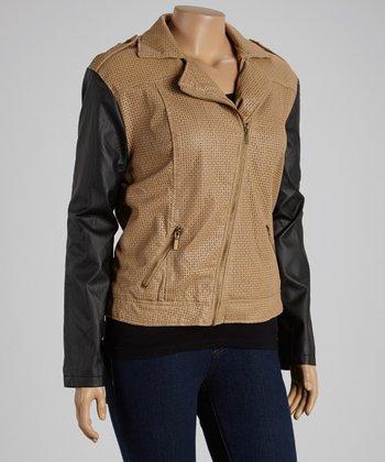 Camel & Black Asymmetrical-Zip Jacket - Plus
