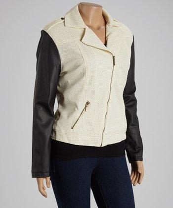 Ivory & Black Asymmetrical-Zip Jacket - Plus