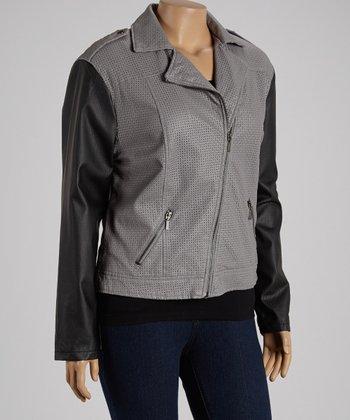 Gray & Black Asymmetrical-Zip Jacket - Plus