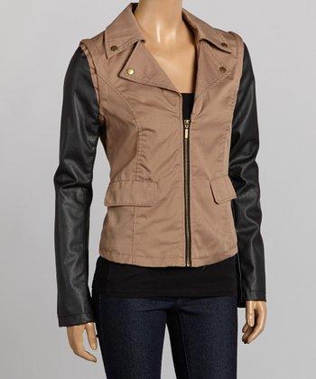 Camel & Black Contrast-Sleeve Twill Jacket - Women