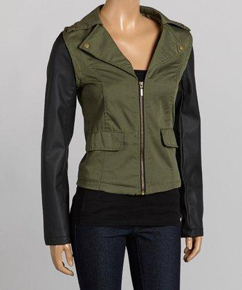 Olive & Black Contrast-Sleeve Twill Jacket - Women