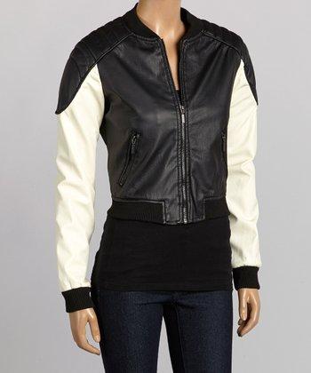 Black & Ivory Faux Leather Bomber Jacket - Women
