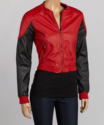 Red & Black Faux Leather Bomber Jacket - Women
