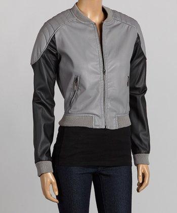 Gray & Black Faux Leather Bomber Jacket - Women