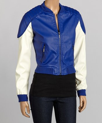 Royal Blue & Ivory Faux Leather Bomber Jacket - Women
